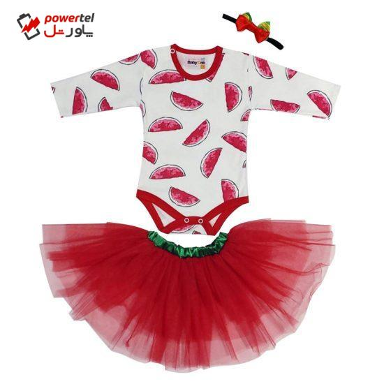 ست 3 تکه لباس نوزادی بی بی وان مدل یلدایی توتو