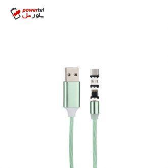 کابل تبدیل USB به لایتنینگ/USB-C/microUSB مدل BA023 طول 1 متر