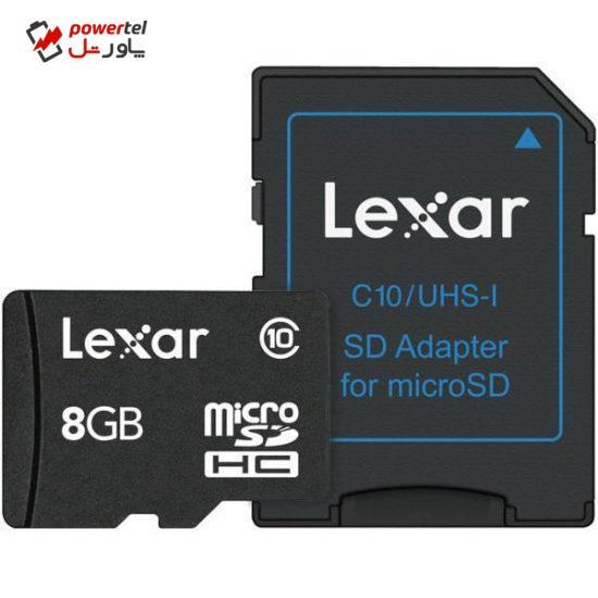 کارت حافظه microSDHC لکسار مدل Mobile کلاس 10 به همراه آداپتور SD ظرفیت 8 گیگابایت