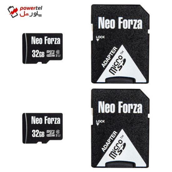 کارت حافظه microSDHC نئوفورزا کلاس 10 استاندارد UHS-I U1 سرعت 80MBps ظرفیت 32 گیگابایت به همراه آداپتور SD بسته 2عددی
