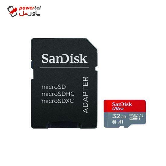 کارت حافظه microSDHC سن دیسک مدل Ultra A1 کلاس 10 استاندارد UHS-I سرعت 100MBps ظرفیت 32 گیگابایت به همراه آداپتور SD