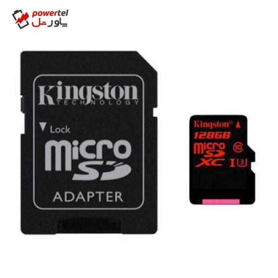 کارت حافظه microSDXC کینگستون کلاس 10 استاندارد UHS-I U3 سرعت 90MBps ظرفیت 128 گیگابایت به همراه آداپتور SD