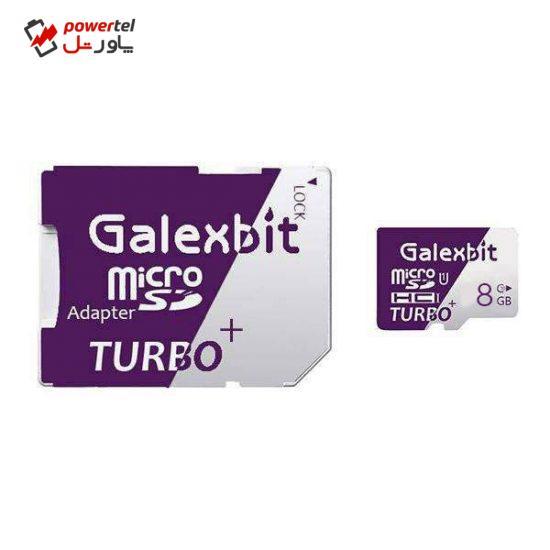 کارت حافظه microSDHC گلکسبیت مدل Turbo+ کلاس 10 استاندارد UHS-I U1 سرعت 80MBps ظرفیت 8 گیگابایت به همراه آداپتور SD