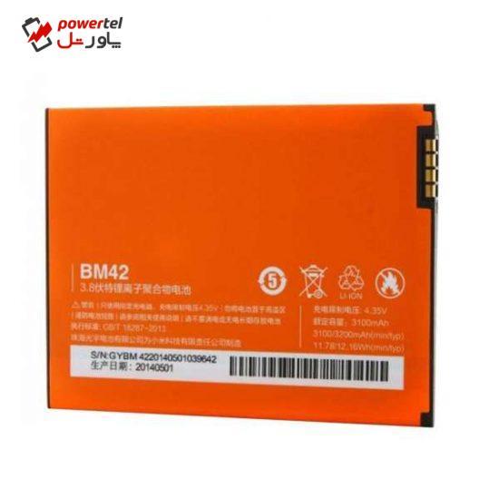 باتری موبایل مدل BM42 ظرفیت 3100 میلی آمپر ساعت مناسب برای گوشی موبایل شیائومی Redmi Note 4G