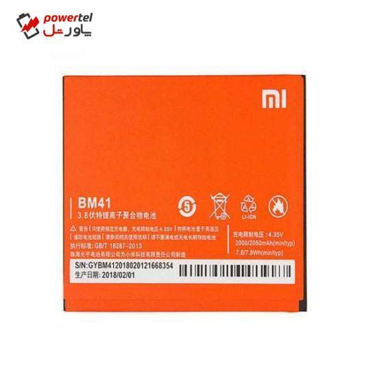 باتری موبایل مدل bm41 ظرفیت 2000 میلی آمپر ساعت مناسب برای گوشی موبایل شیائومی redmi 1