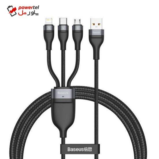 کابل تبدیل USB به microUSB/USB-C /لایتنینگ باسئوس مدل CA1T3-G1 طول 1.2 متر