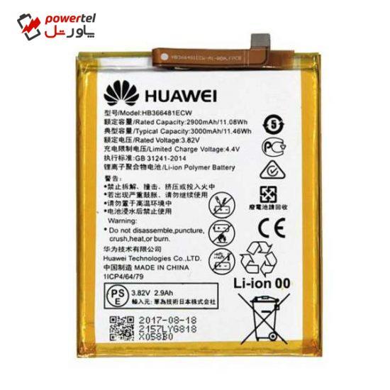 باتری موبایل مدل HB366481ECW ظرفیت 3000 میلی آمپر ساعت مناسب برای گوشی موبایل هوآوی P9