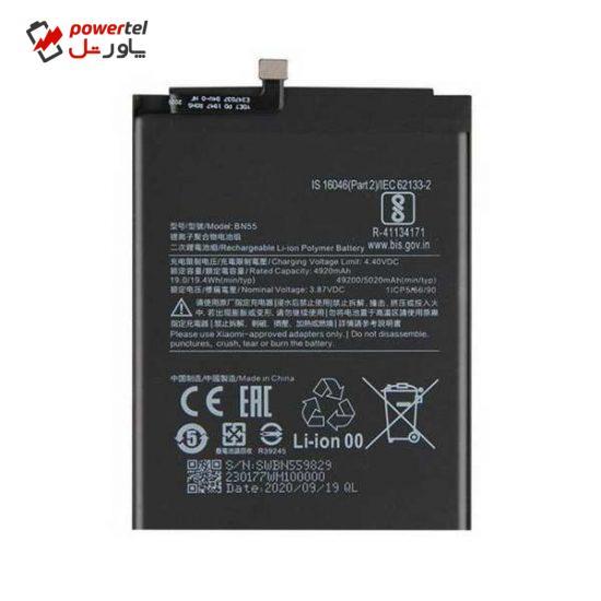 باتری موبایل مدل BN55 ظرفیت 4920 میلی آمپر ساعت مناسب برای گوشی موبایل شیائومی  Redmi 9s